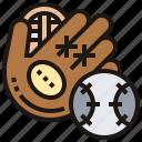 ball, baseball, catch, glove, pitcher