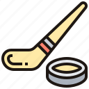hockey, ice, puck, rink, stick icon