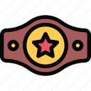 athlete, belt, boxing, fitness, gym, sport, training icon