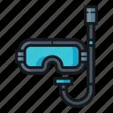 diving, diving equipment, diving gear, diving mask, scuba dive, scuba diving, snorkel icon