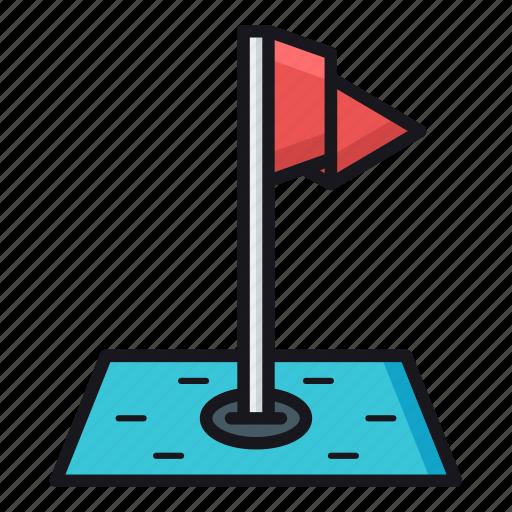 flag pole, golf, golf course, golf hole icon