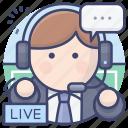 commentator, live, match, sports