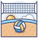 beach, sports, volleyball, net