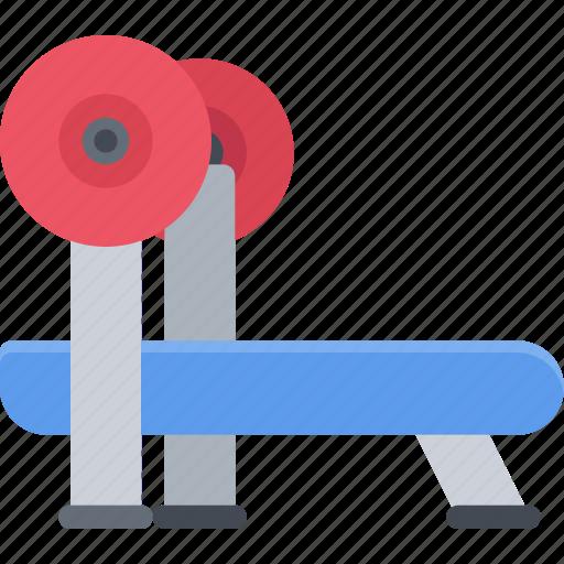 athlete, bench, fitness, gym, press, sports, training icon
