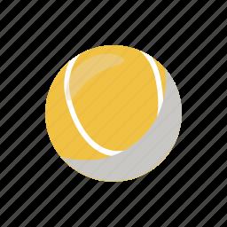 ball, cartoon, equipment, game, sport, tennis, yellow icon