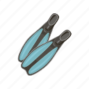 cartoon, equipment, flipper, scuba, sport, summer, water icon