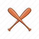 baseball, bat, cartoon, game, object, sign, sport icon
