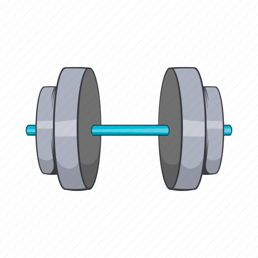 cartoon, dumbbell, equipment, exercise, gym, object, sign icon