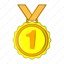 award, cartoon, first, gold, medal, sign, style icon