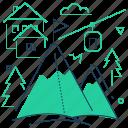 mountan, resort, ski, slope icon