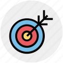 aim, arrow, bulls-eye, dartboard, darts, focus, target icon