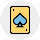 casino card, play card, poker, poker card, poker element, poker spade, poker symbol icon