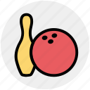 ball, bowling, bowling pin, completion, game, skittle, sports icon
