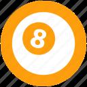 8 ball, billiard, billiard ball, game, pool ball, snooker, sports icon