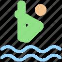 dip, dive, jump, man, sea, swim, swimming pool, water, water dive icon