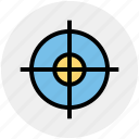 bulls-eye, circle, dart on dart board, dartboard, play, target, target board icon