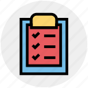 clipboard, completed, file, health, paper, sheet, tasks icon