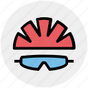 bicycle, cap, cycling, equipment, glasses, hat, helmet icon