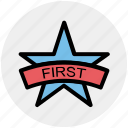 award, first, first position, medal, reward, star, winner icon