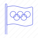 flag, games, interlocking, olympic, rings, sports, symbol, white icon