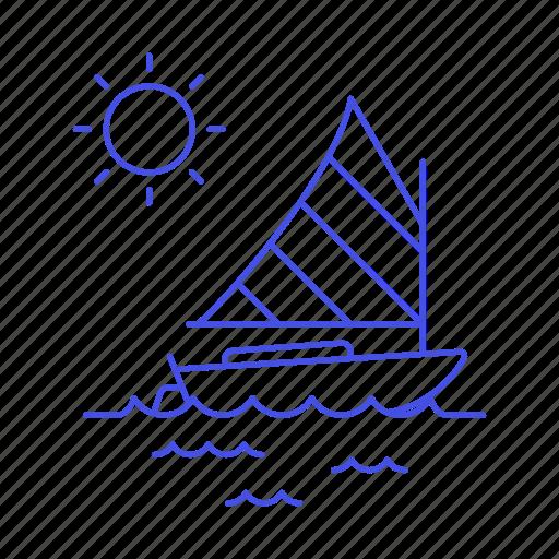 boat, ocean, sail, sailboat, sailing, sea, sports, water, watercraft icon
