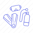 1, diving, equipment, fins, mask, scuba, sports, tank, water icon