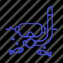 scuba, sea, diving, sports, mask, fish, ocean, water, snorkel icon