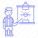 football, game, male, outfit, plan, soccer, sports, strategy, tactics icon