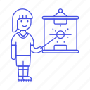 female, football, game, outfit, plan, soccer, sports, strategy, tactics icon