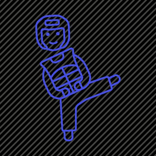 arts, chest, fighter, helmet, kick, male, martial, player, protector, sport, sports, taekwondo, teakwondo icon