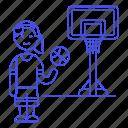 basketball, player, ball, net, sports, game, streetball, hoop, goal, female icon