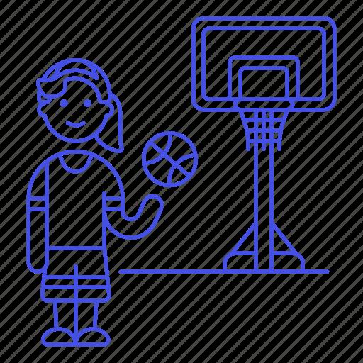 2, ball, basketball, female, game, goal, hoop, net, player, sports, streetball icon