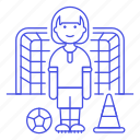 ball, female, football, goal, match, member, player, soccer, sports, team, training