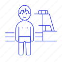 board, diving, male, pool, sports, springboard, swimmer, swimming, swimwear, water icon
