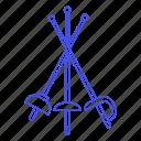 modern, swordsmanship, disciplines, fencing, sports, foil, combat icon