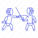 equipment, swordsmanship, fencing, gear, sports, fighting, sword, touch, touche icon
