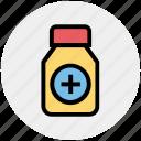 bottle, capsule, fitness, gym, medicine, pharmacy, vitamin icon