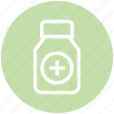 bottle, capsule, fitness, gym, medicine, pharmacy, vitamin icon