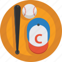 bat, ball, baseball bat, cap, baseball, sport