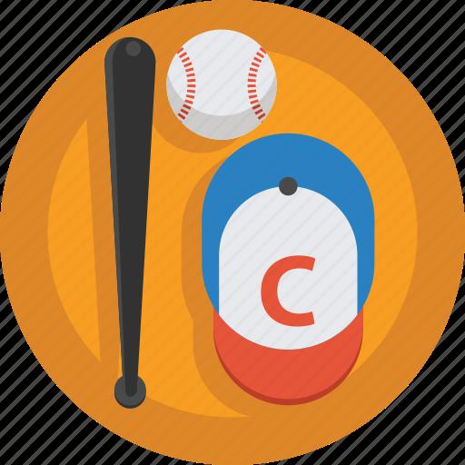 ball, baseball, baseball bat, bat, cap, sport icon