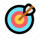 archer, archery, bullseye, errow, shoot, sport, target icon