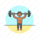 beach, body, builder, exercise, man, sports, weight, workout icon