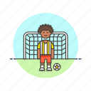 football, goal, man, net, play, score, sports icon