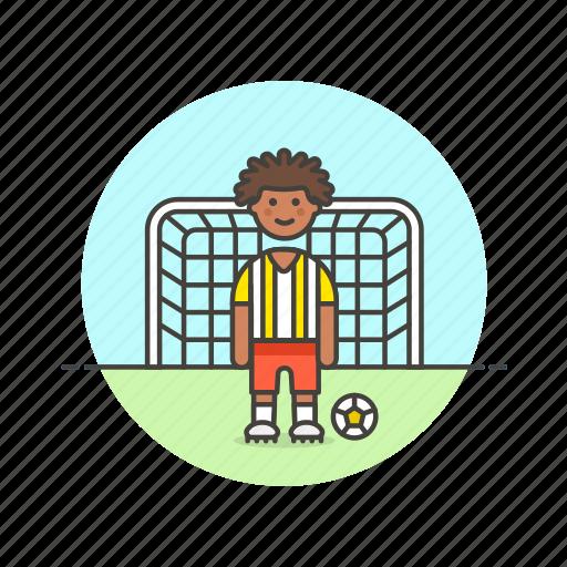 football, goal, man, net, play, score, sports icon