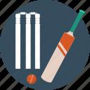 bat and ball, cricket, cricket equipment, cricket kit, stumps icon