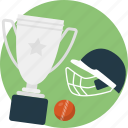 cricket championship, cricket tournament, helmet, tour, trophy icon