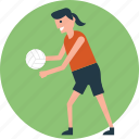 court, netball, throwball game, throwball player, volleyball icon