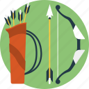 archery, bow and arrow, extreme sports, outdoor sports, quiver icon