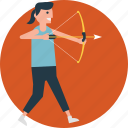 archer, archery, bow, practising, taking aim icon