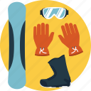 extreme game, outdoor sports, snowboard, snowboard equipment, snowboarding gear icon